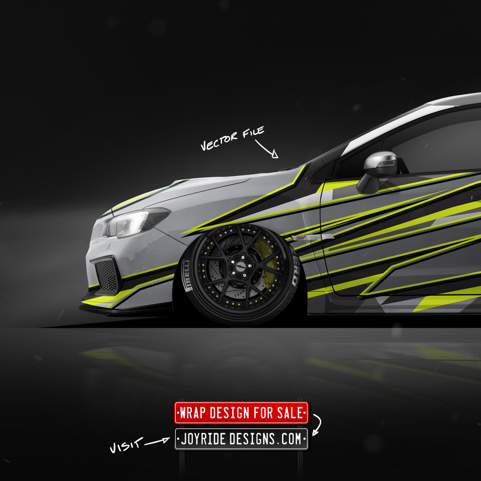 2019 SUBARU STI FRONT SIDE JOYRIDE WRAP DESIGN JD1