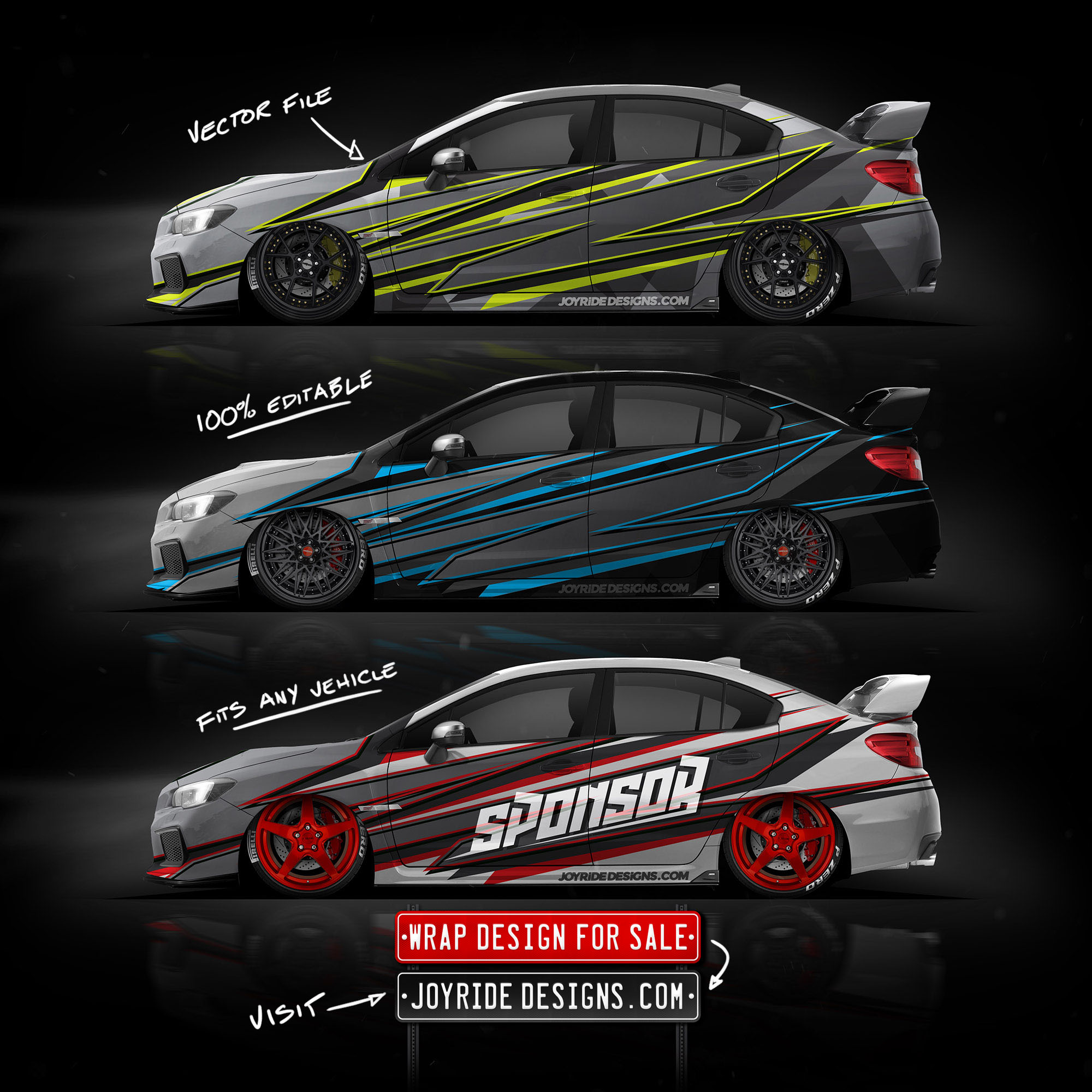 2019 SUBARU STI SIDE JOYRIDE WRAP DESIGN JD1