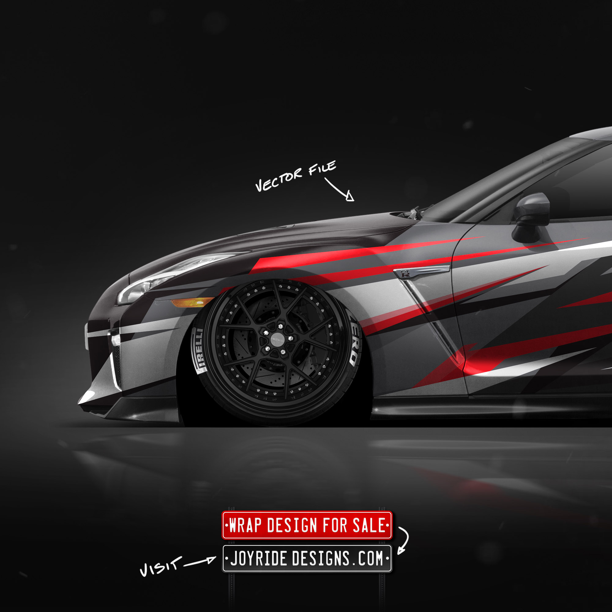 NISSAN GTR FRONT SIDE JOYRIDE WRAP DESIGN JD4