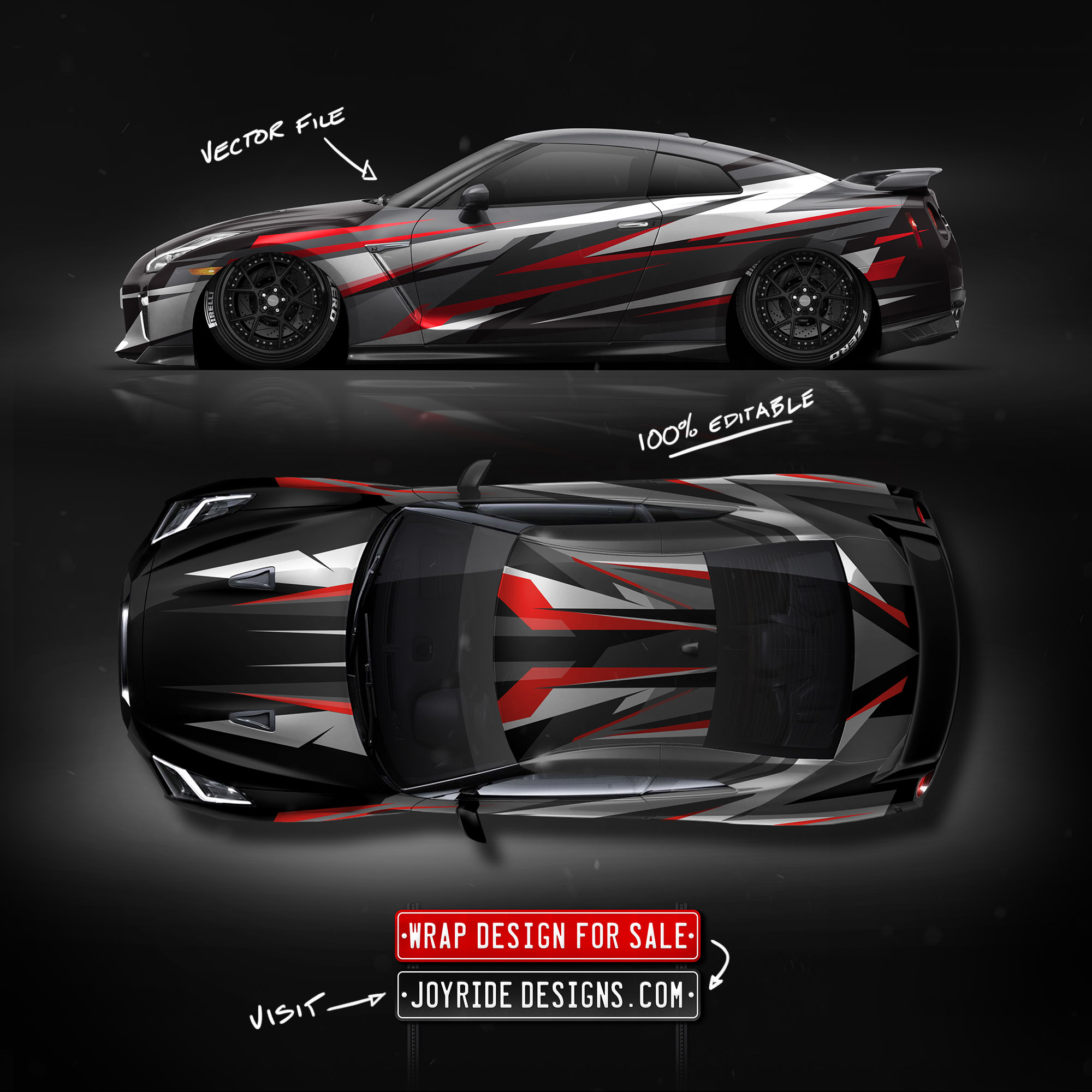 NISSAN GTR SIDE AND TOP JOYRIDE WRAP DESIGN JD4