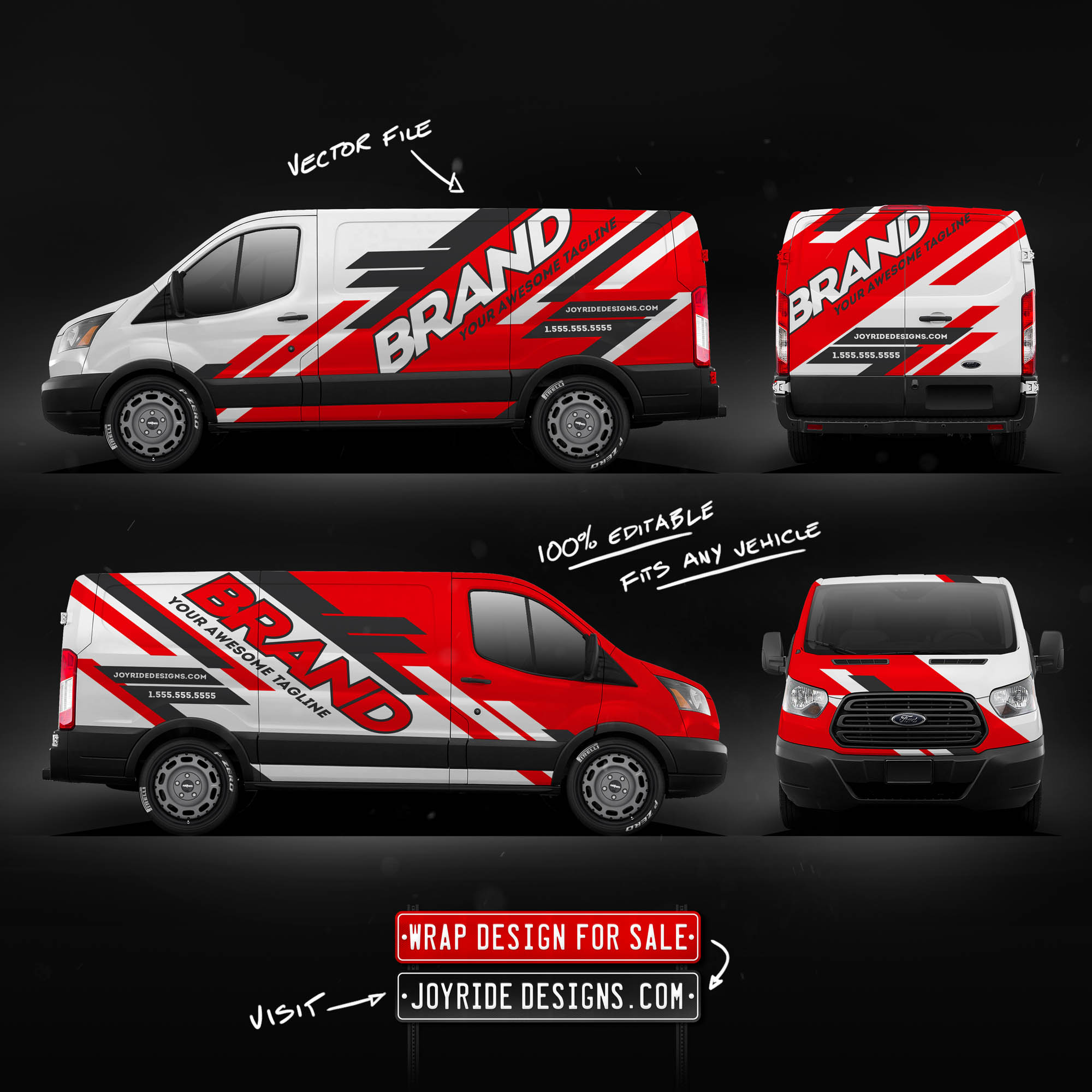FORD TRANSIT CARGO JOYRIDE COMMERCIAL WRAP DESIGN RED JDC-01