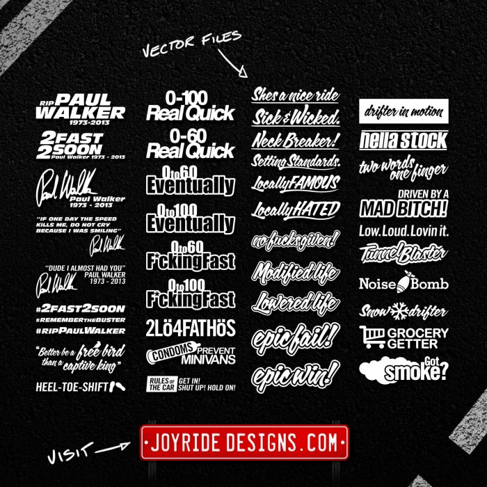 JOYRIDE DESIGNS VECTOR DECALS MEGA PACK 09