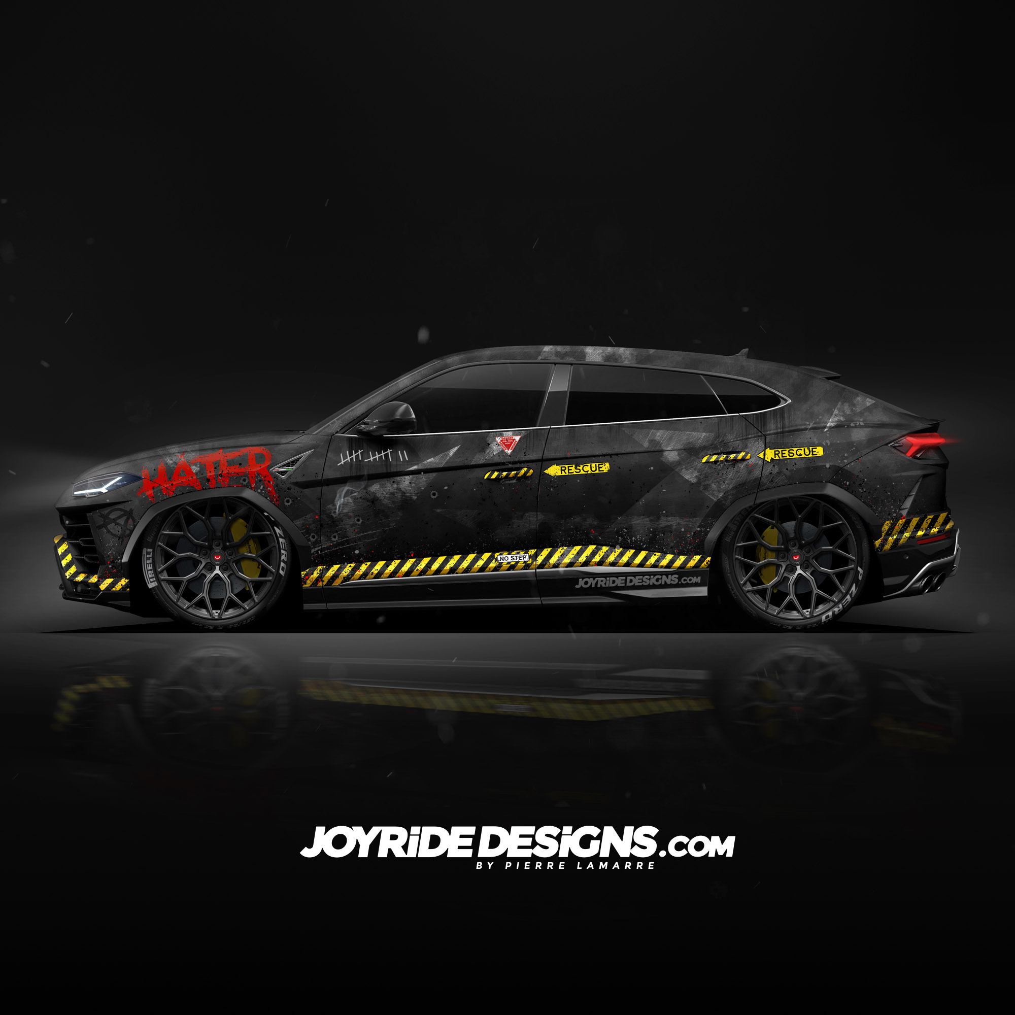 LAMBORGHINI URUS JOYRIDE WRAP DESIGN RESCUE FULL SIDE METALLIC CAMO TEXTURE