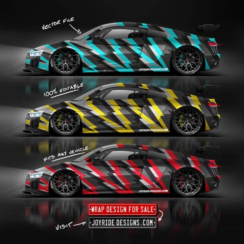 AUDI R8 V10 BEE REAL ALL SIDES JOYRIDE VECTOR WRAP DESIGN JD8