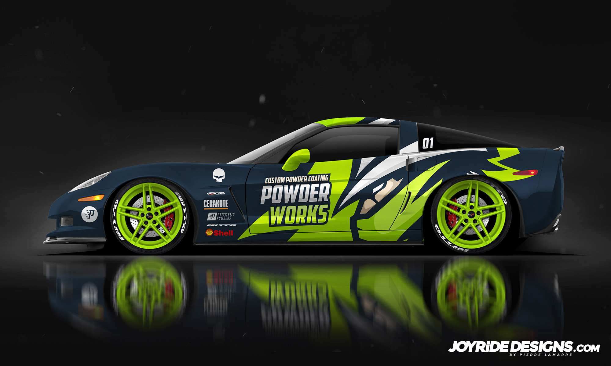 CORVETTE C6 Z06 POWDER WORKS JOYRIDE WRAP DESIGN SIDE