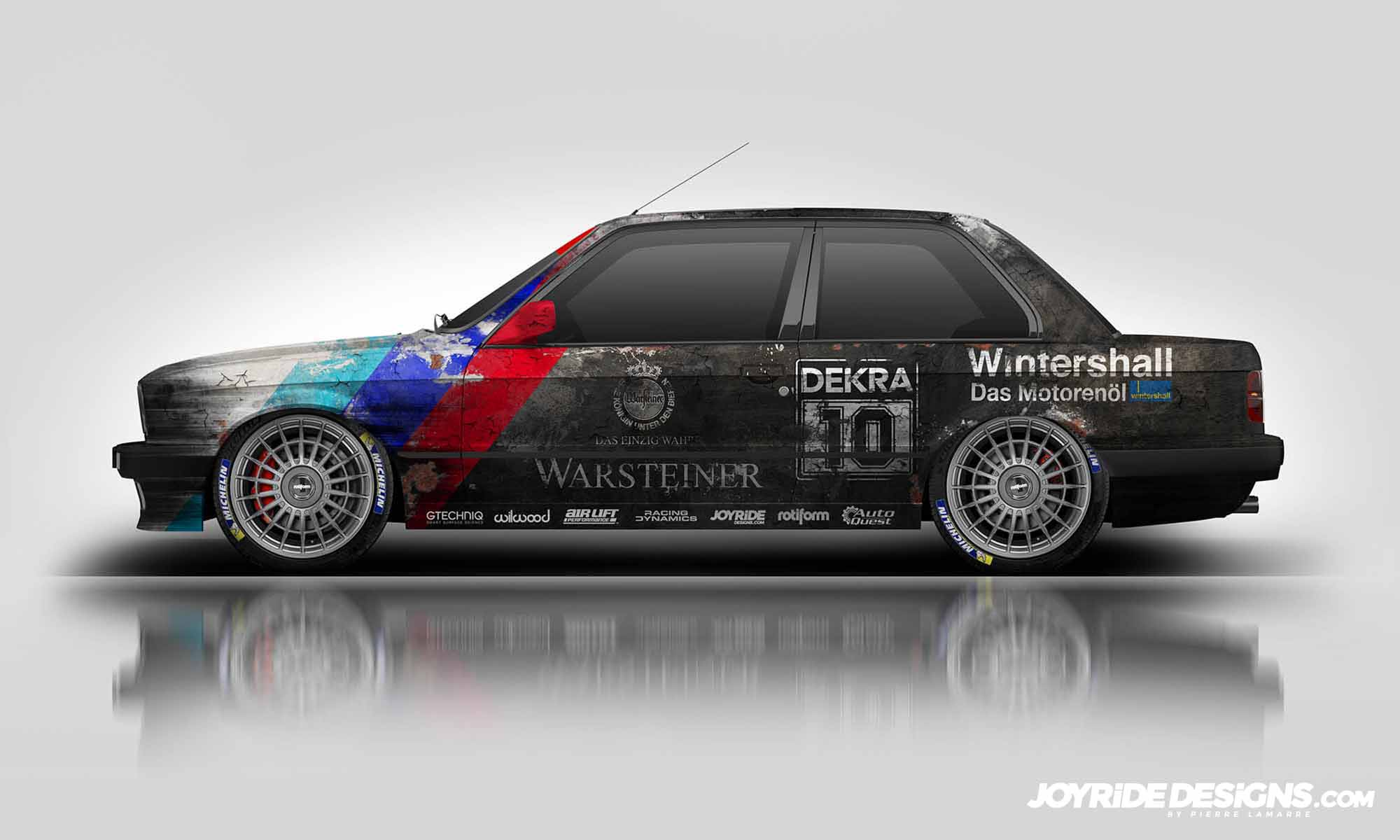 BMW E30 WEATHERED DEKRA BARN FIND JOYRIDE WRAP DESIGN DRIVER SIDE