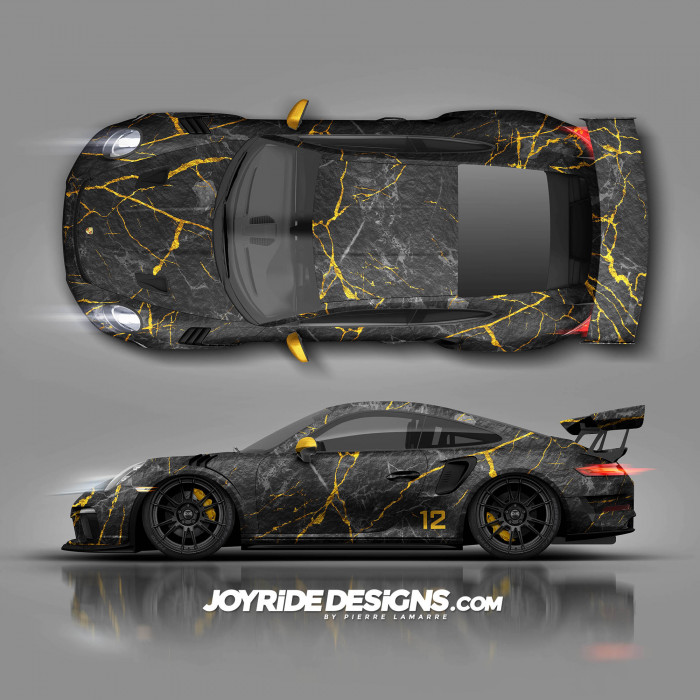 PORSCHE GT3RS BLACK AND GOLD MARBLE JOYRIDE TEXTURE JDT-29 TOP AND SIDE