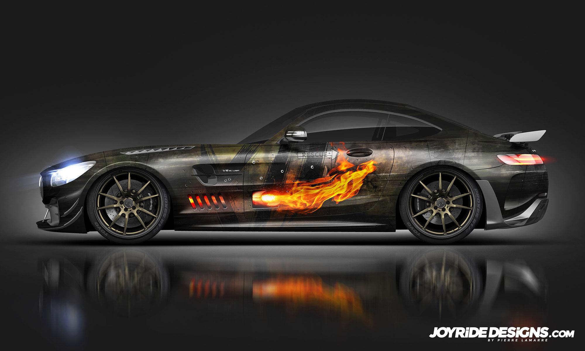 2020 MERCEDES AMG GT-R PRO MILITARY CHOPPER JOYRIDE WRAP DESIGN