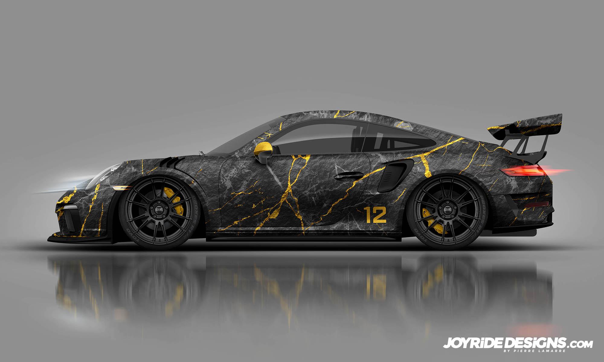 PORSCHE GT3RS BLACK AND GOLD MARBLE JOYRIDE WRAP DESIGN