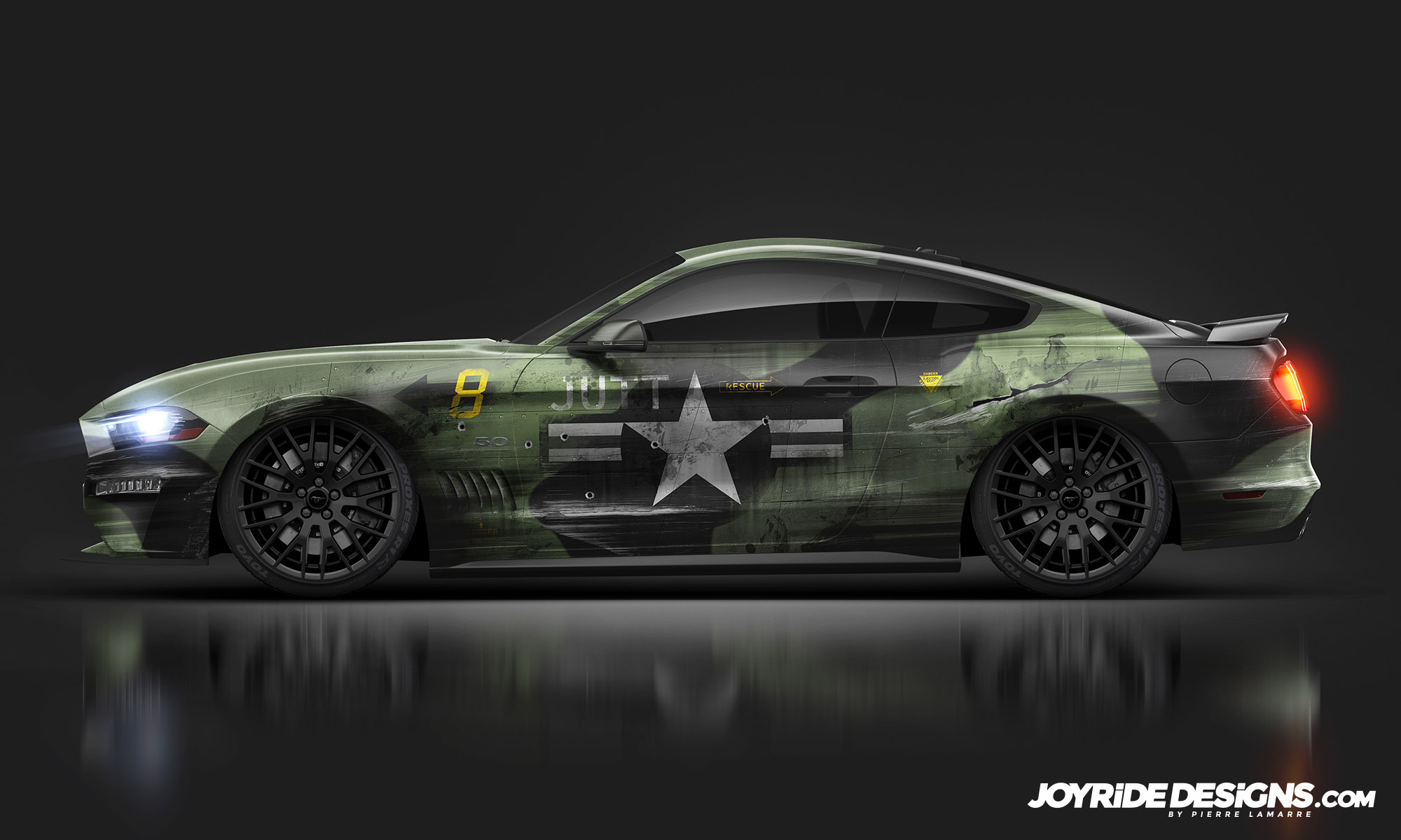 FORD MUSTANG GT MILITARY JOYRIDE WRAP DESIGN SIDE VIEW